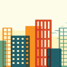 colorful city skyscrapers illustration.
