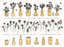 floral gold vases