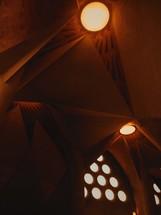 pot lights in a church