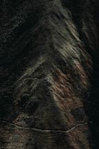 Aerial view of a mountain ridge.