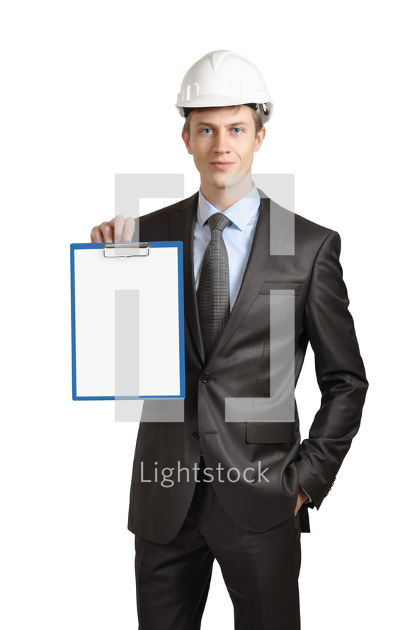 Engineer holding a clipboard.