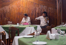 violinist at a fancy restaurant in India