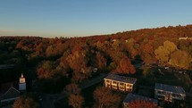 aerial view over Fayetteville in fall