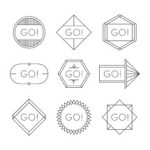 "hand drawn ""go"" badges."