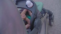 a baby in a stroller