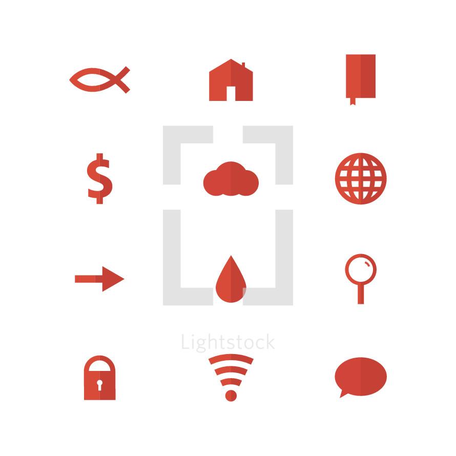 Jesus fish, icon, lock, wifi, thought bubbles, blood drop, arrow, magnifying glass, house, home, worldwide web, globe, money, $, Bible, cloud