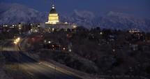 road heading towards Utah capitol building at night