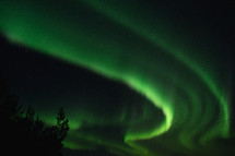 green Northern Lights in the night sky