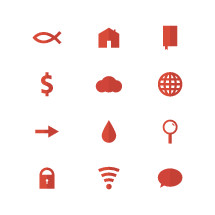 Jesus fish, icon, lock, wifi, thought bubbles, blood drop, arrow, magnifying glass, house, home, worldwide web, globe, money, $, Bible, cloud
