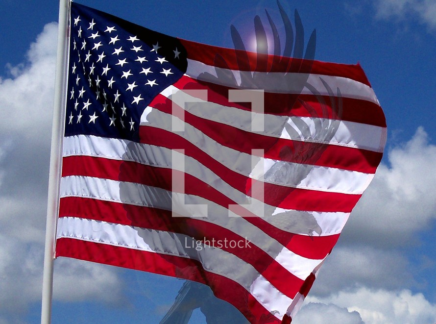 The symbol of the Eagle and the red white and blue flag of the United States of America. All that is freedom to the world.