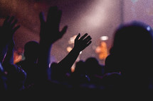 silhouette, raised hands, contemporary worship service, worship