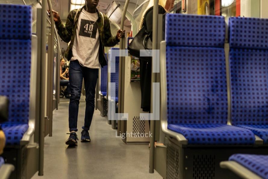 passengers on a subway train