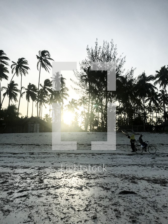 man riding a bicycle on a beach in Zanzibar, Tanzania