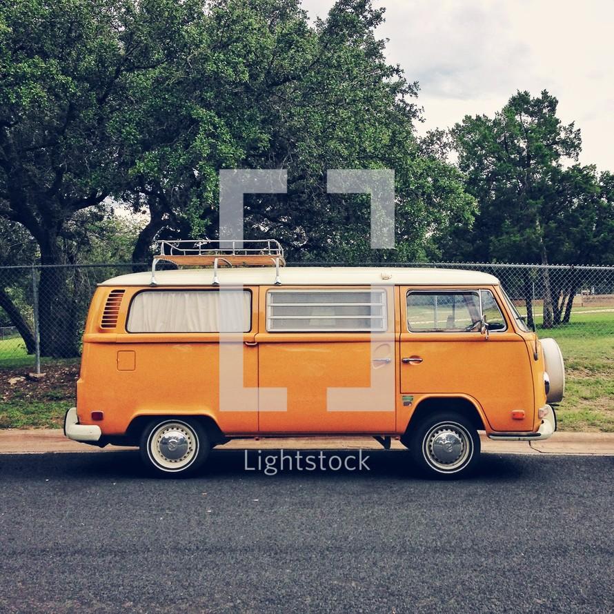 vintage orange van