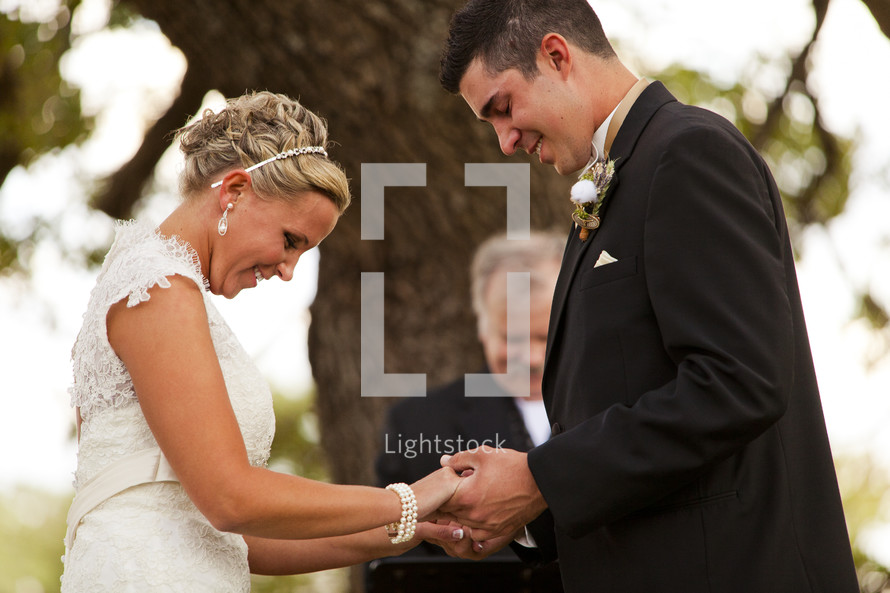 Bride and groom marriage ceremony