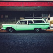 vintage green station wagon