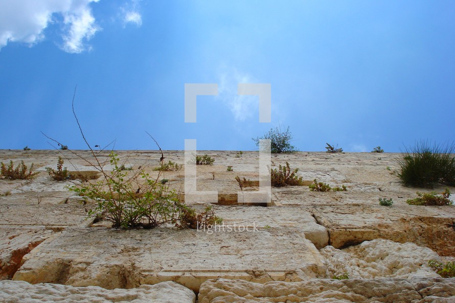 Heavenward view from the base of the Western Wall, Jerusalem