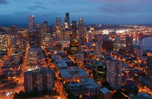 City skyline from Space Needle at dusk. Sunset