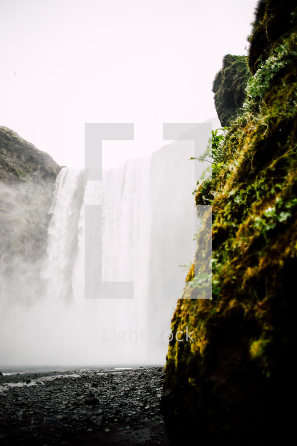 mist from a waterfall in Iceland