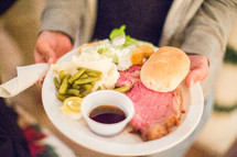A plate of prime rib