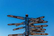 world distance signs