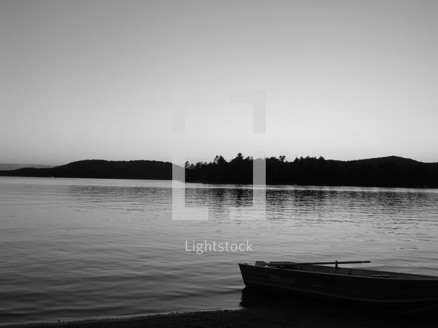 lake and a boat