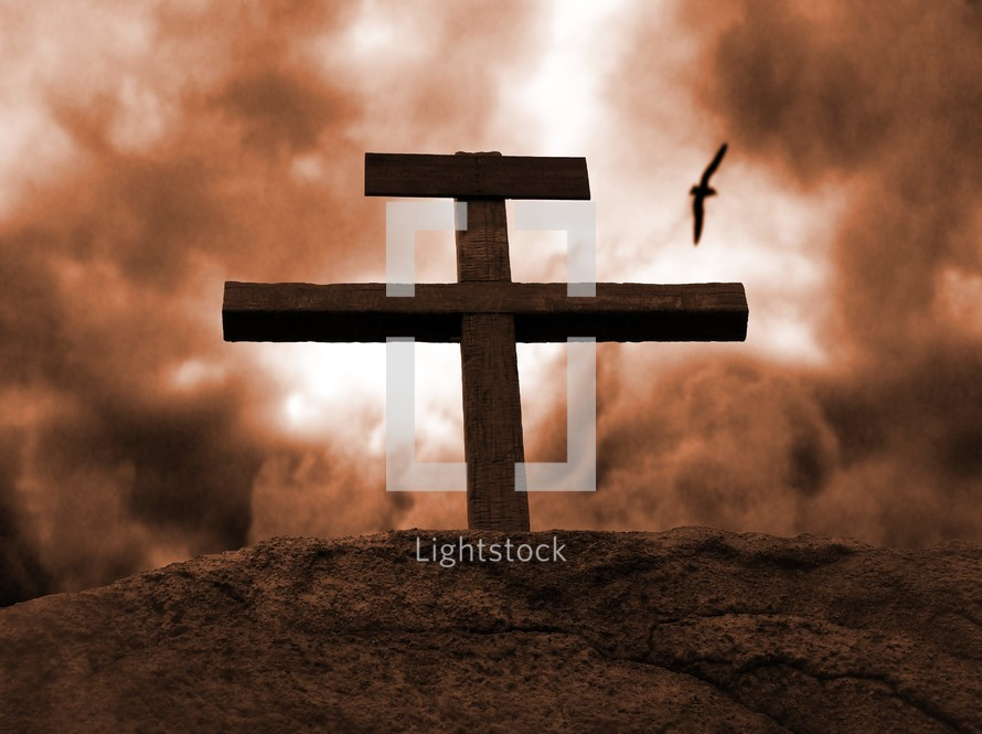 Clouds roll behind the empty cross of Jesus casting the world in a glow of red.