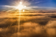 clouds, sun, sunlight, airplane window view, rays, sunburst, sky