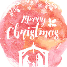 Merry Christmas lettering on a water color background.