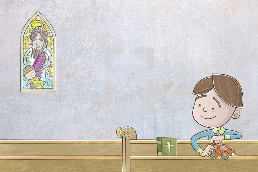 boy playing with a toy car sitting in church pews