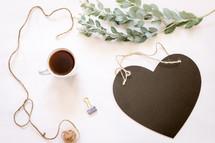 blank heart shaped chalkboard
