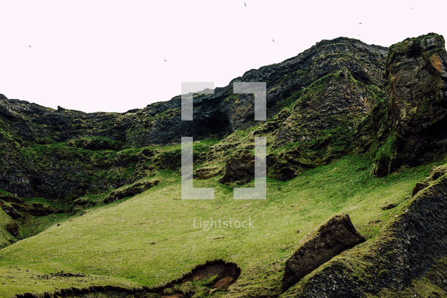 green hillsides in Iceland