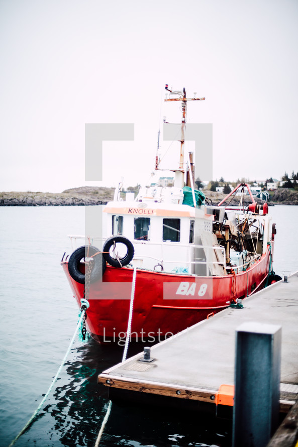 docked boat in a harbor in Iceland