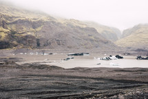 black sand and muddy bay in Iceland