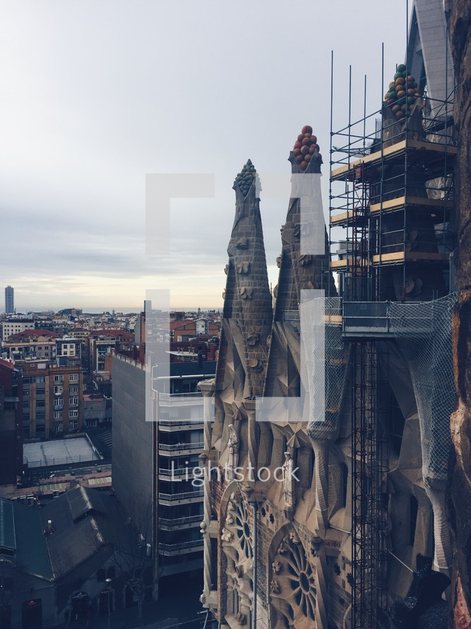 scaffolding on an ancient cathedral