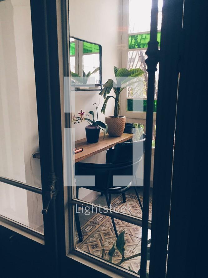 desk in a sunroom