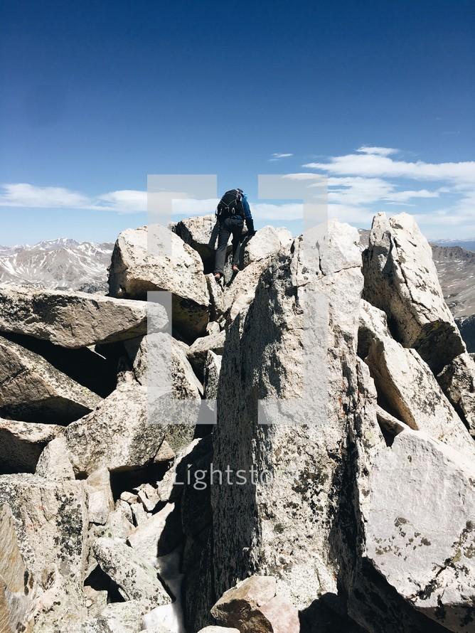 a person rock climbing