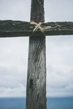 Wooden cross outside.