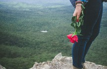 woman holding a rose standing at the edge of a cliff