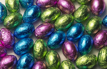metallic foil wrapped chocolate eggs