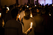 Christmas Eve service - congregation holding candles