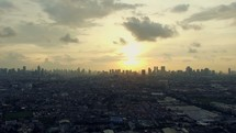 Cityscape  Sunset Aerial