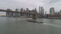 Barge on the Hudson river in NYC