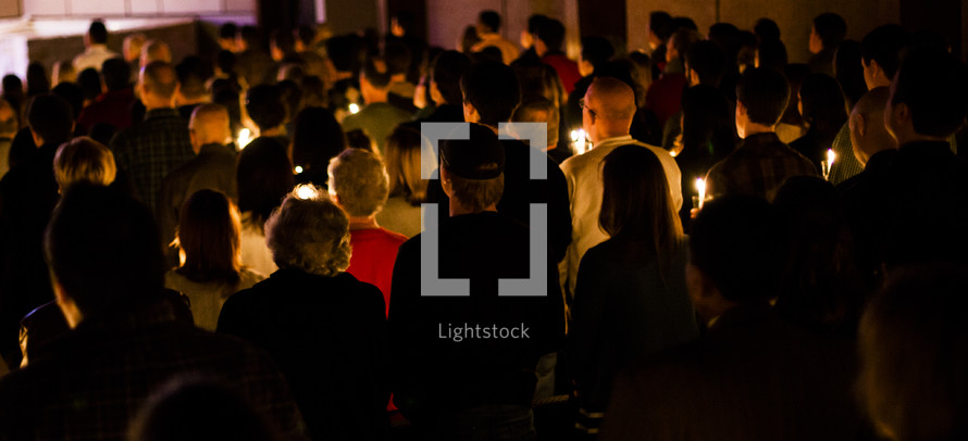 A Christmas Eve Service - Congregation holding candles