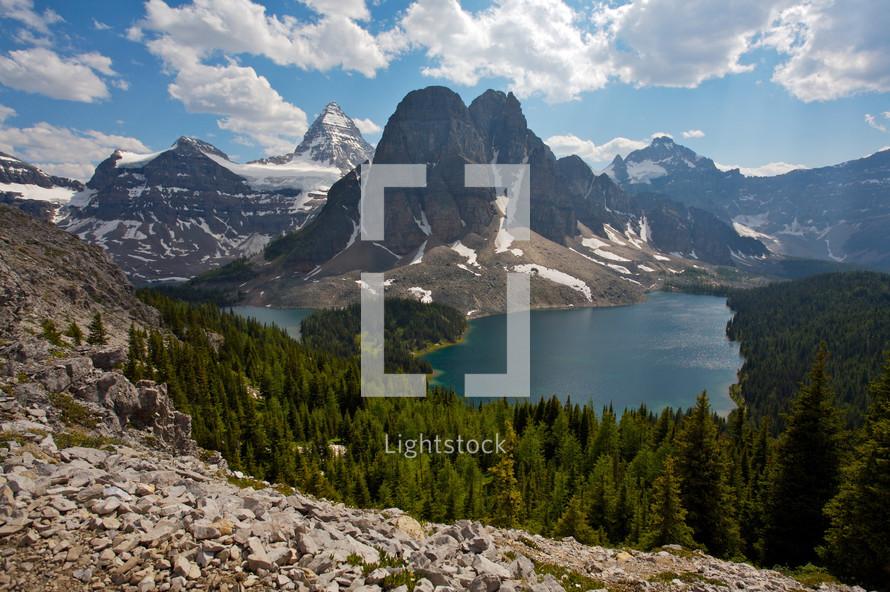 mountain range - snow - lake surrounding mountain