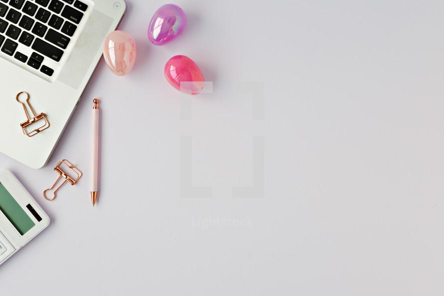Easter eggs on a desk