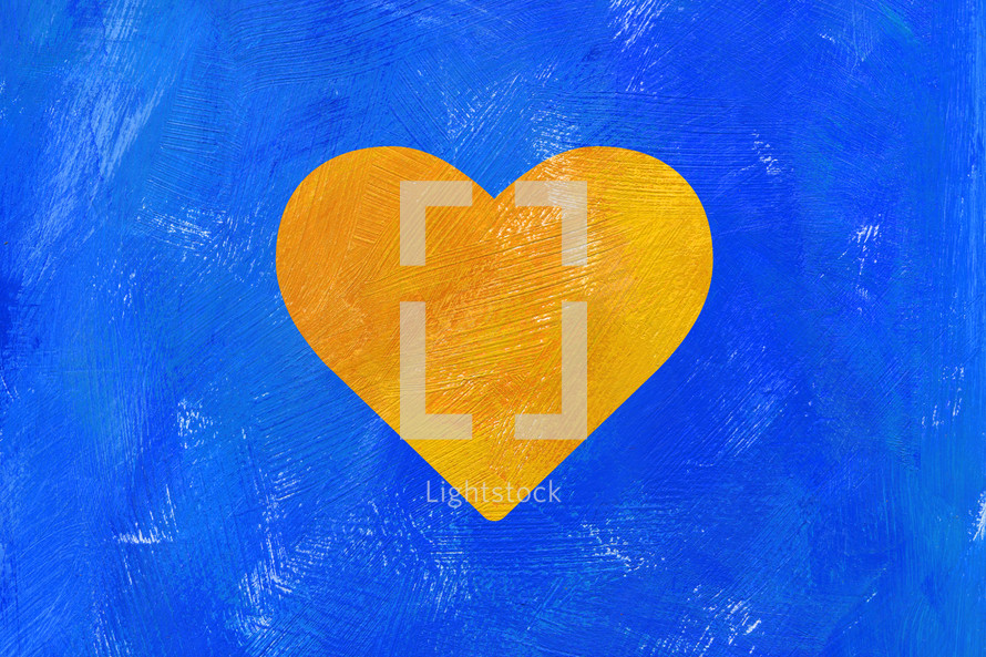 yellow heart on a blue background