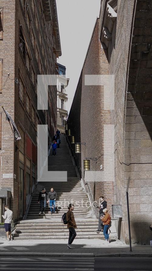 steps between buildings in a alley