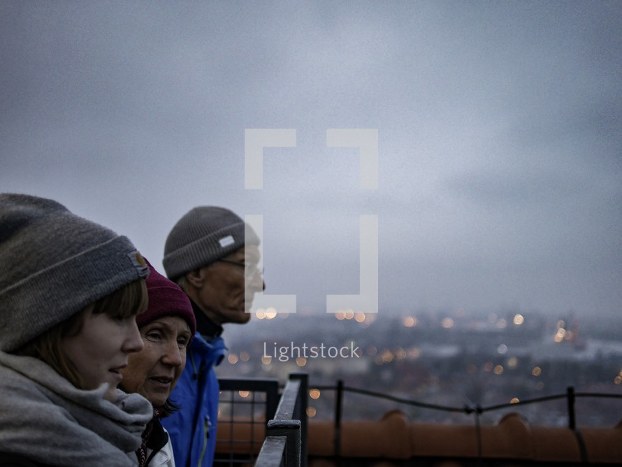 People looking out at a view of Gdansk, Poland