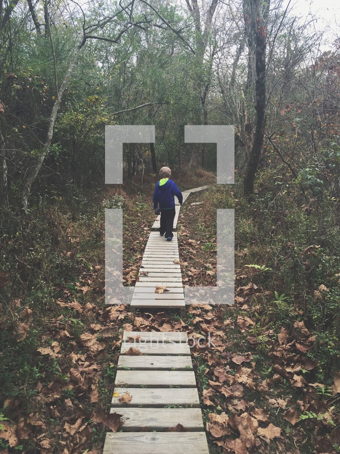 boy child walking on wood boards along a nature trail